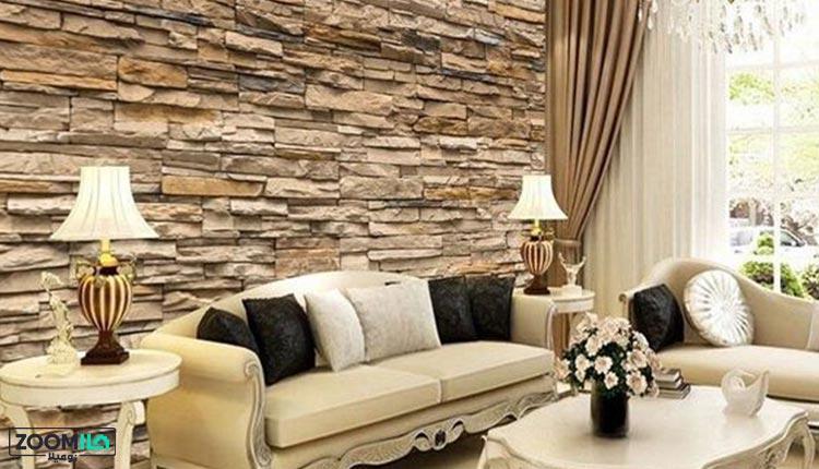 دیوارپوش سه بعدی طرح سنگ در پذیرایی