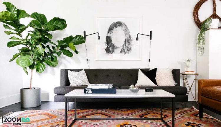 دیوار سفید در پذیرایی کوچک به سبک مینیمال