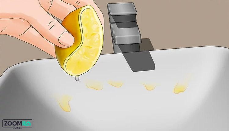 سفید کردن سینک ظرفشویی با لیمو
