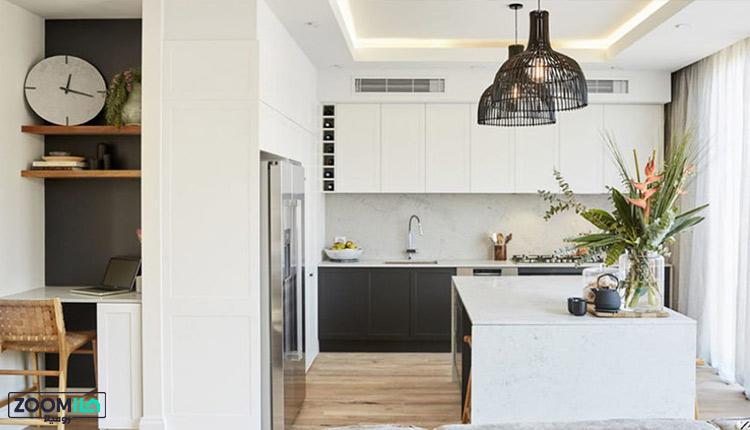 آشپزخانه سفید مدرن سبک شیکر