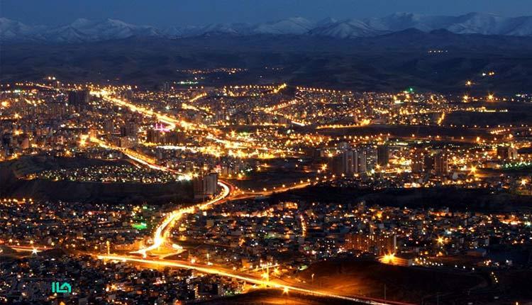 کلانشهر تبریز در شب