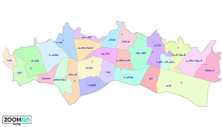 محله های منطقه یک تهران
