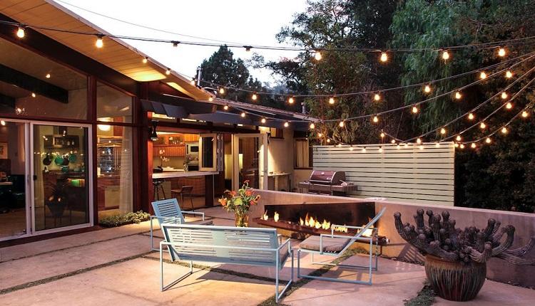 نورپردازی حیاط خانه با ریسههای تزئینی
