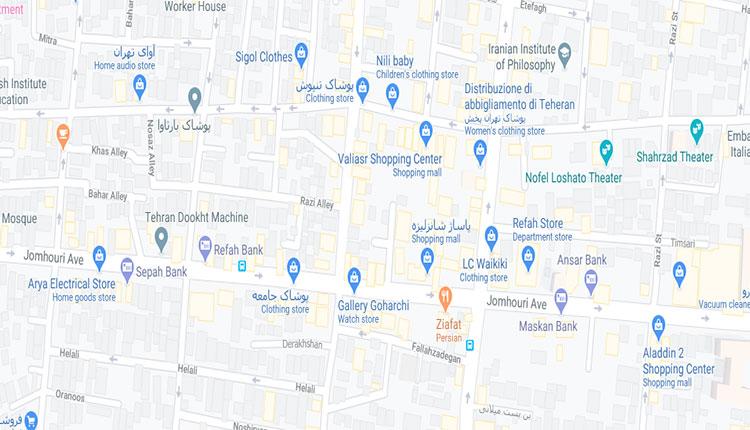 نقشه تهران خیابان جمهوری اسلامی