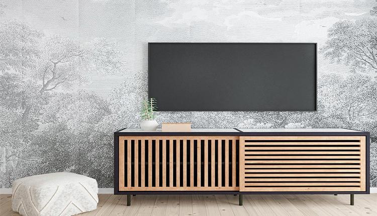 دکوراسیون دیوار پشت تلویزیون با کاغذ دیواری