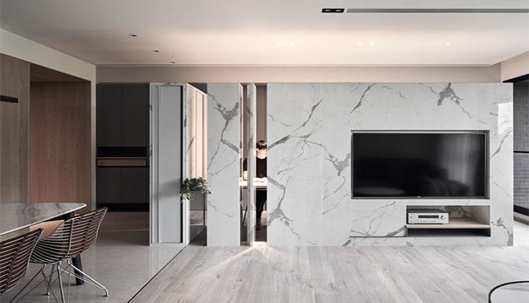 طراحی پشت تلویزیون با سنگ