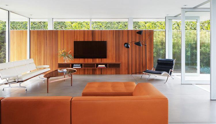 چوب در طراحی دیوار پشت تلویزیون